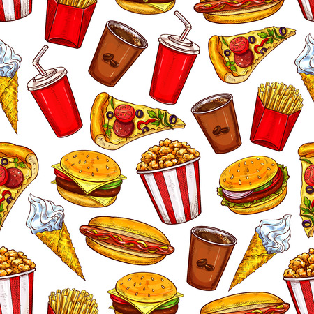 Fast food burgers, drinks and desserts vector seamless pattern background. Hamburger, hot dog and pizza, coffee, cheeseburger and soda, ice cream and popcorn. Takeaway snacks sketch backdrop