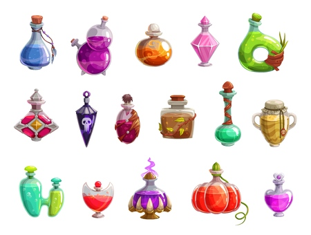 Potion bottles vector icons of witch magic elixir or alchemist poison. Evil wizard glass jars and magician flasks with colorful liquid, creepy skull tags and corks. Magical drink, Halloween design Illustration