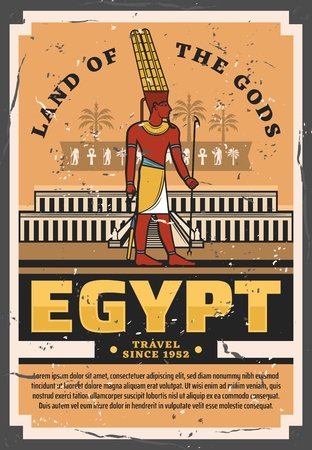 Egypt travel vintage  poster with ancient egyptian pharaoh palace or temple