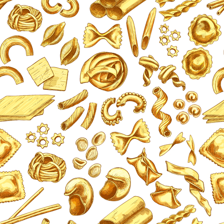 Pasta, Italian macaroni and spaghetti sketch seamless pattern.