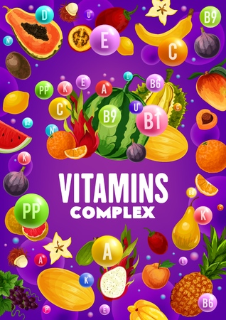 Vitamins content of fruits and berries. Banque d'images - 121172810