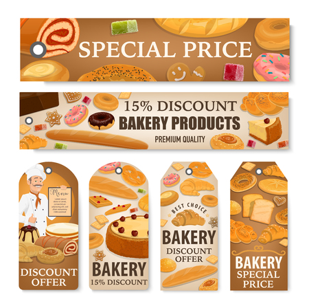 Bakery and pastry shop discount price tags and sale offer banners. Banque d'images - 121172811