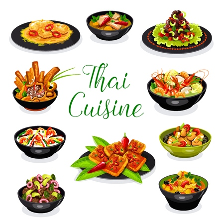 Thai cuisine asian dishes with meat and seafood. Shrimp soup tom yum, chicken pineapple curry and chili meat soup, chicken noodle, beef salad and pork with peanut sauce, fried rice and ham sandwich