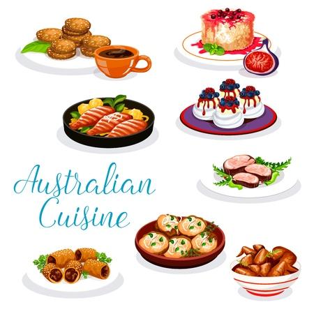 Piatti di carne australiani con dessert. Bistecca di manzo vettoriale, agnello in pasta sfoglia e ali di pollo barbecue, pesce persico con salsa di verdure e patate, pavlova di torta di meringa, biscotti di farina d'avena e budino di riso Vettoriali