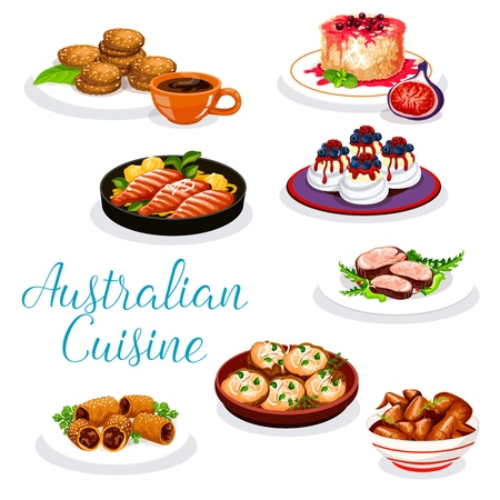 Australian meat dishes with desserts. Vector beef steak, lamb in puff pastry and bbq chicken wings, perch fish with vegetable sauce and potato, meringue cake pavlova, oatmeal cookie and rice pudding