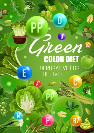 Detoxification green color diet with healthy vegetables, culinary herbs, fruits and nuts.