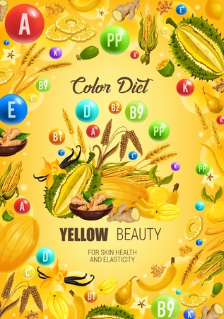 Color diet yellow food healthy nutrition.