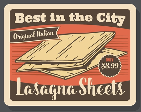 Lasagna pasta vintage poster. Vector Italian restaurant or cafe traditional lasagna pasta original recipe dish menu with dollar price Çizim