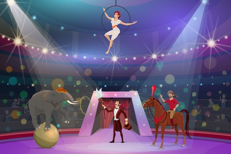 Circus show trick illusionist, animal tamer and acrobat. Vector big top circus performance magician with stick and hat, equilibrist on aerial hoop and elephant on ball juggling ring Illustration