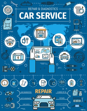 Car garage station and mechanic repair auto service center poster.
