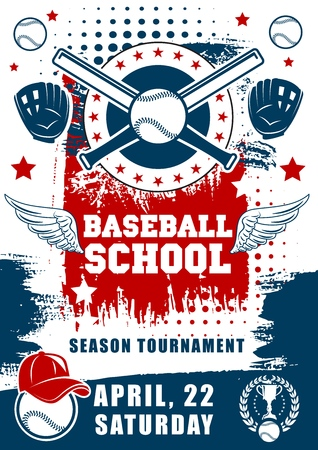 Baseball school team tournament poster. Vector baseball or softball sport game league championship season, player bar and ball with gloves and halftone flag