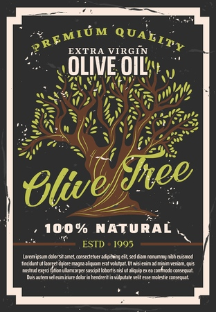 Olive oil, premium quality extra virgin 100 percent natural cooking oil or salad dressing product. Vector olive tree poster or bottle package label Ilustracja
