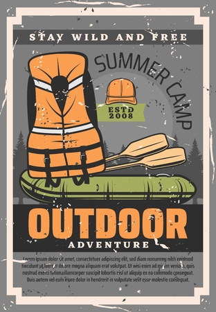 Rafting adventure training courses club and school. Vector vintage poster of rafting boat with paddles and rafter safety vest equipment, outdoor summer camp and sport activity Иллюстрация