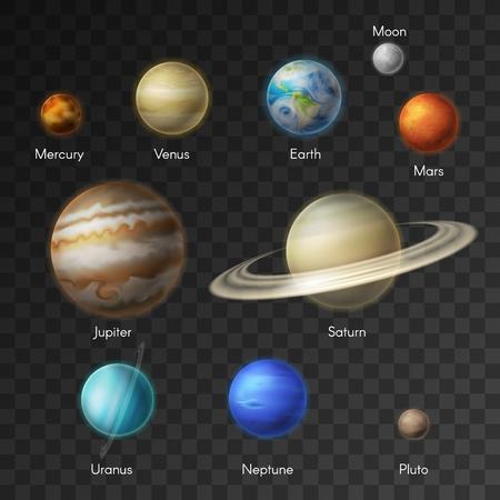 Planetas de los iconos aislados del sistema solar.