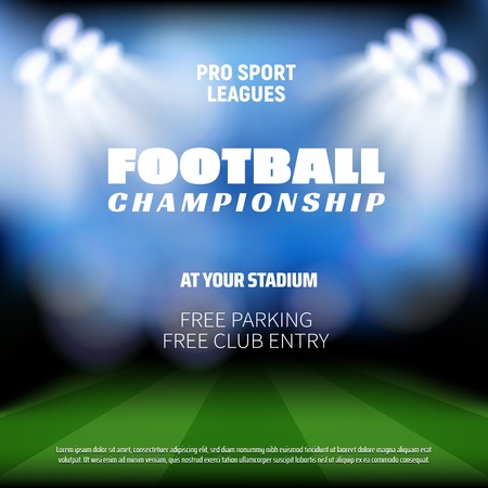 Football match preview background, sport broadcast TV background. Vector football or soccer stadium arena with projection lights in defocused blur