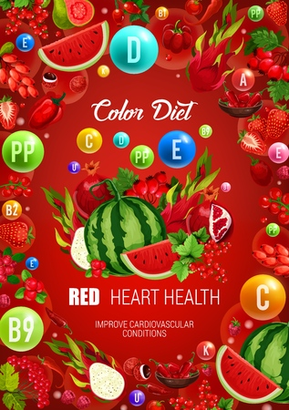 Color diet red food healthy nutrition. Vector natural organic tropical fruits, vegetables and berries with vitamins and minerals in red color diet for heart and cardiovascular system health