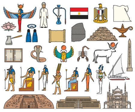 Ancient Egypt religious symbols and sacred gods. Stock Illustratie