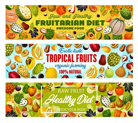 Exotic tropical fruits, fruitarian diet natural fruits harvest.