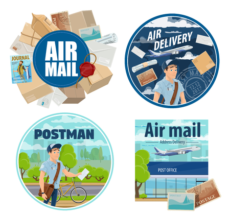 Mail delivery, postman with correspondence and parcels. Vector post office and express delivery, air mail cargo shipping and freight logistics, courier on bicycle with newspapers and letter envelopes Stock Illustratie