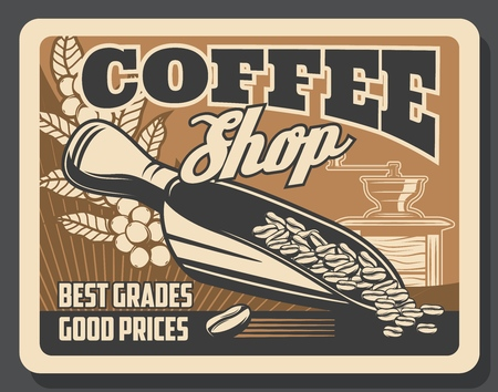 Coffeeshop coffee brewing cafe vintage poster. Vector coffeehouse and cafeteria coffee beans in grinder mill, cappuccino or americano and espresso