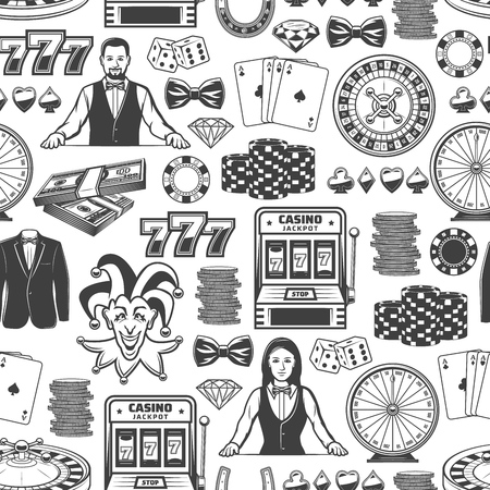 Casino poker gambling game seamless pattern. Ilustracja