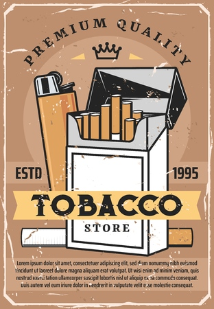 Cigarettes and tobacco retro poster. Vector cigarettes open pack with lighter, premium quality label, tobacco production factory or store poster