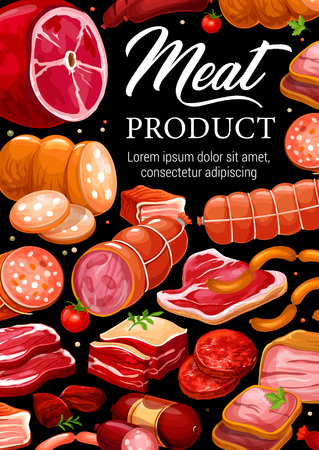 Meat and sausages, butchery shop gourmet pork and beef products.