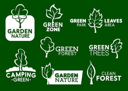 Iconos de hoja verde de la naturaleza y símbolos de negocios de identidad corporativa. Ilustración de vector