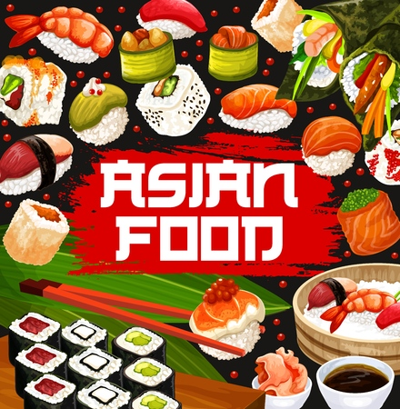 Japanese sushi and rolls menu, Asian food cuisine bar.