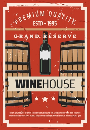 Wine making house and wine grand reserve vintage poster. Banque d'images - 121172607