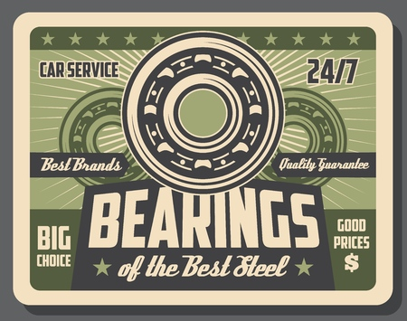Car bearings restoration, auto service center vintage poster. Vector vehicle garage station, mechanic diagnostic and chassis wheel replacement and recovery or automotive spare parts store Illustration