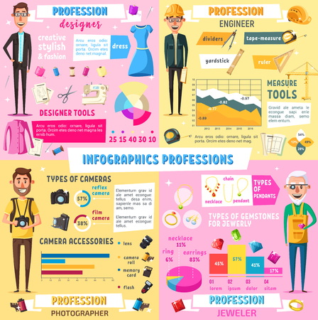 Professions infographic of jobs and professional occupation charts in fashion designer, construction engineer or jeweler and photographer. Vector work tools diagrams and statistics flowchart