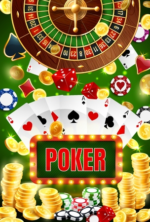 Casino poker gambling wheel of fortune game poster.