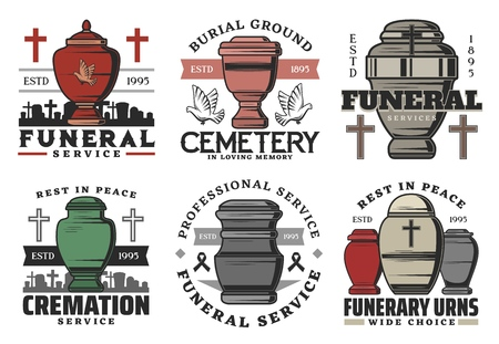 Funeral and funerary urn columbarium icons.