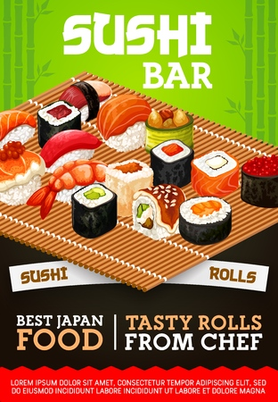 Japanese sushi bar vector menu of traditional sashimi and maki rolls. 일러스트