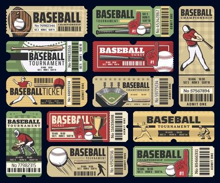 Billets de match de coupe de championnat de baseball.