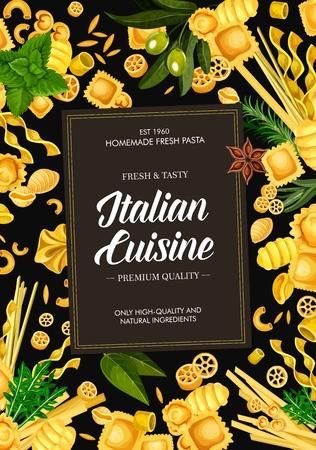 Copertina del menu di piatti di pasta di cucina italiana. Vettoriali