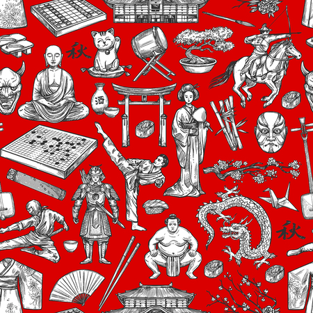 Japan history and traditional culture items seamless pattern.