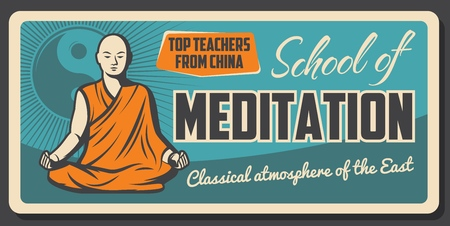 Meditation school, Buddhism Zen relaxation and religious Dharma vintage poster.