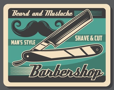 Barbershop vintage poster, mustache and beard razor shaving. Vector gentlemen baber shop or hipster hairdresser salon, haircut and hair trim