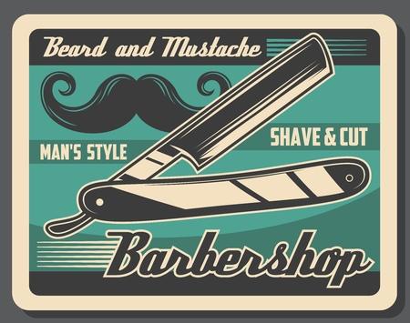 Barbershop vintage poster, mustache and beard razor shaving. Vector gentlemen baber shop or hipster hairdresser salon, haircut and hair trim