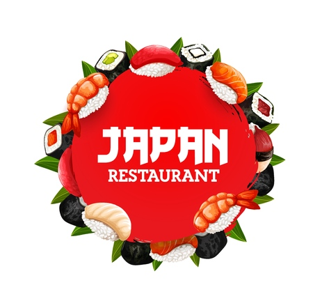 Japanese sushi restaurant menu, Asian cuisines food.
