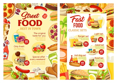 Fast food cafe menu, street food hot dogs and burgers. Vector fastfood takeaway menu of Mexican burrito or doner, cheeseburger or hamburger with salads and chicken grill or fries combo set