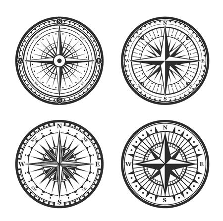 Antiguos iconos heráldicos de la brújula de navegación. Vector símbolo de la rosa de los vientos de la brújula náutica del viaje marino y de la gente de mar, navegante de vela de barco con punteros de flecha de dirección hacia el este, oeste o norte y sur