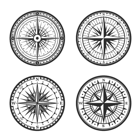 Old navigation compass heraldic icons. Vector Winds Rose symbol of nautical compass of marine and seafarer journey, ship sail navigator with direction arrow pointers to East, West or North and South