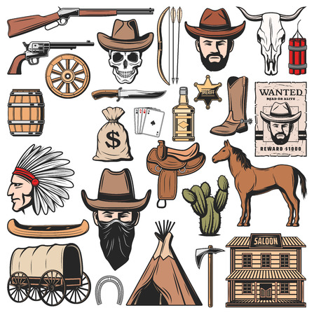 Wild West symbols and American Western icons. Vector sheriff star badge, Indigenous man with wigwam hunt or wanted robber in cowboy hat and wagon cart, horse saddle, bank dollars and pistol guns