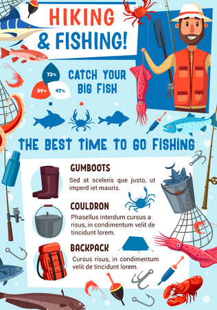 Fishing sport hobby and fish catching equipment. Vector fisherman with rod, lures and tackles for seafood squid, crab or river catfish and ocean marlin or lake carp, backpack or gumboots and cauldron