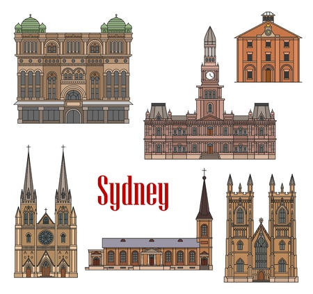 Sydney famous architecture buildings vector icons. Stock Vector - 121172622