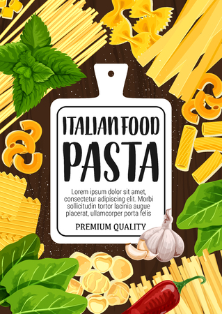 Pasta fusilli, fettuccine or linguine and penne cooking spices and herb ingredients.