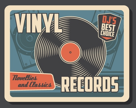 Vinyl record disk vintage poster. Illustration